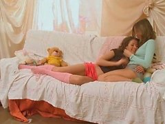 Sweet teenager lesbians kissing and touching