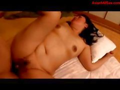 Chubby mature Asian does sixty-nine and then gets banged hard