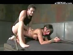 Busty Girl Tied To Bed In Doggy Getting Her Pussy And Mouth Fucked In The Dungeon