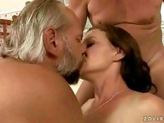 Two grandpas fucking and pissing on busty beauty