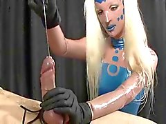 Mistress sounds a cock until it cums hard