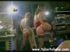 Two Italian girls are with two dudes toying and sucking cock