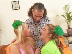 Groupsex with two hot teen babes