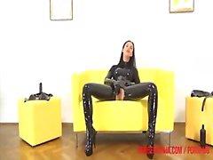 rubber girls masturbation, masked, cuffed, ball gagged strap-on fuck