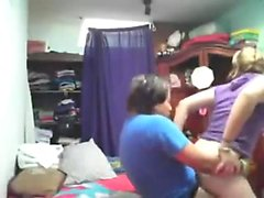 Chubby chick fucks her cute girlfriend with a strap-on