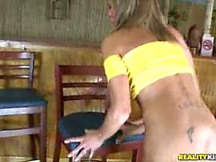 Montanna gets it doggy style on top of bar stool.