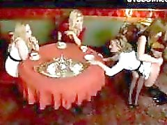 Maid Getting Spanked Tortured With Shocker By Mistress And Her 2 Girlfriends At The Desk