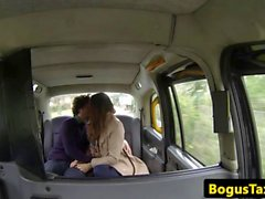 British taxi couple doggystyling on backseat