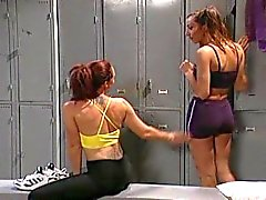 Lesbian locker room strapon fucking fingering and dildo pounding!
