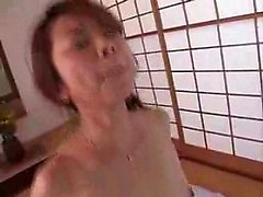 Striking Oriental mom fucks a young cock and enjoys it to t