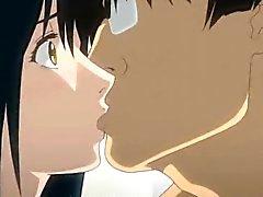 Busty anime gets huge dildo inside