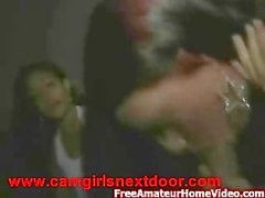 Two drunk party girls give blowjob