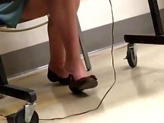Candid Teacher Brown Flats Shoeplay Feet Dangling 2