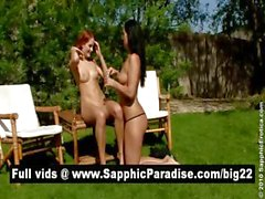 Cute brunette and redhead lesbians licking and fingering pussy and having lesbian sex