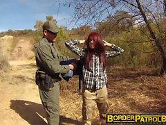 Redhead babe Onyx fucks the officer to cross the border