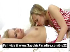 Stunning blonde lesbos kissing and having lesbo love