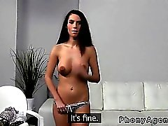 Busty amateur gets breasts cumshot in threesome on casting