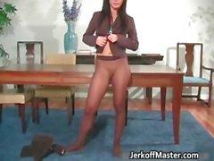 Cute face brunette secretary stripping part5