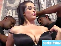 Katrina Jade worships 2 black monster cocks