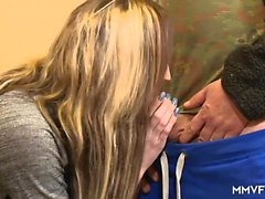 Tattooed chick deepthroating and fucking older guy