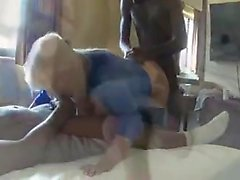 Interracial group intercourse with white-haired puffy milf