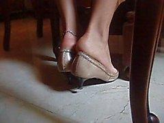 Bare Feet In Tan Pointy Heels Shoeplay