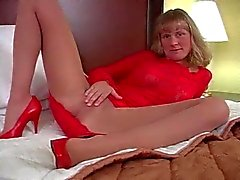 Annabel in Red Lingerie and Pantyhose