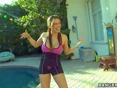 Megan Jones goes crazy about playing with her giant melons