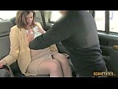 Hottie office manager gets rammed hard in the taxi