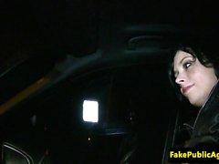 Fucked czech hitchhiker jizzed on ass in car