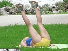 Flexible blonde yoga girl is picked up at the park for a quick fuck