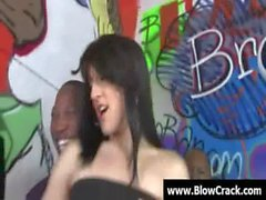 Interracial BlowBang - Facial cumshot in interracial hardcore fuck 25