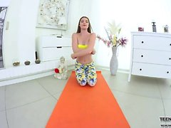 VR hot teen yoga solo pussy masturbation