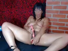 Horny 49 year old Latina milf toying pussy on webcam