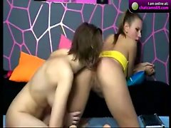 Amateur teen rides toy strapon in lesbian sorority haze