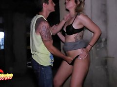 Sexy blonde with a big ass gets fucked hard in the street.