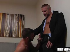 Muscle daddy footjob and cumshot