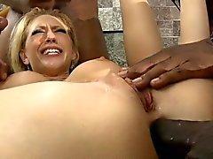 Busty slut Kagney Lynn Karter all holes fucked by black men