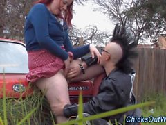 real gf fingered outdoors by her punk bf