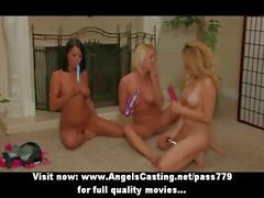 Three lovely superb lesbian girls with big natural tits undressing and kissing