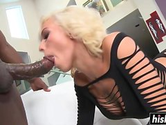 Black boner slams a tight blonde slut