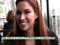 Sabrina gorgeous brunette babe public flashing tits