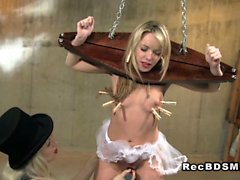 Blonde slave in bdsm pussy toyed