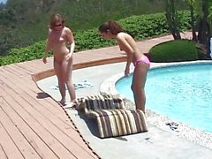 Pool pussy licking is hot for these lesbians