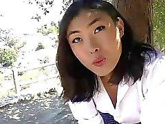 Horny Asian TS Yuri Myeon toyed her ass