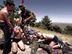 Katy Caro and Tiffany Rousso Lose a Paint Ball Game and Must Suck Dick