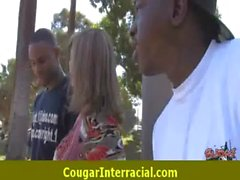 Sexy cougar MILF hottie nailed by black 16