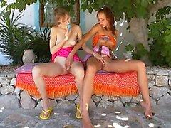 Two russian lesbian princesses dildoing