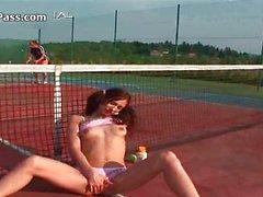 Cute brunette girl gets horny sucking