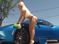 Alexis Ford shows off her perfect tits at the car wash